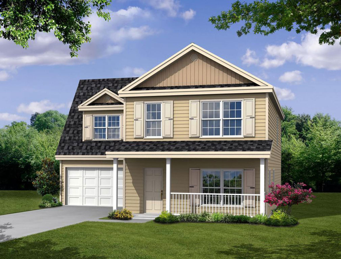 New two story Home, The Seabrook with 1,889 square feet 4 bedrooms 2.5 bath with 2 car garage.