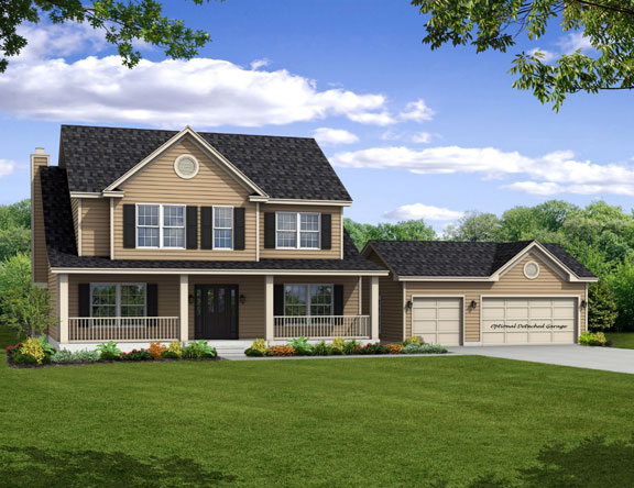 New two story Home, The Capers with 2,204 square feet 4 bedrooms 3 bath with 3 car garage.