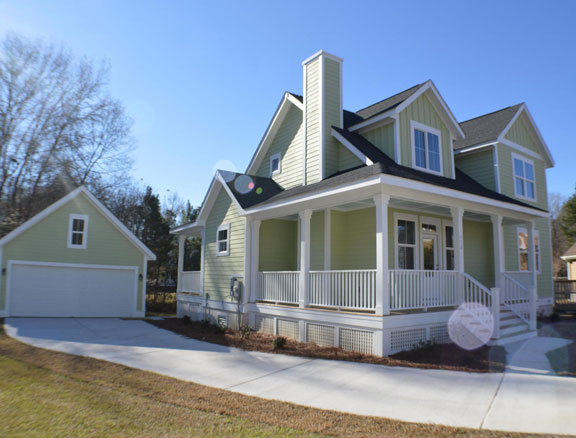 New two story Home, The Woodland with 2,050 square feet 4 bedrooms 3.5 bath with 2 Car Detached car garage.